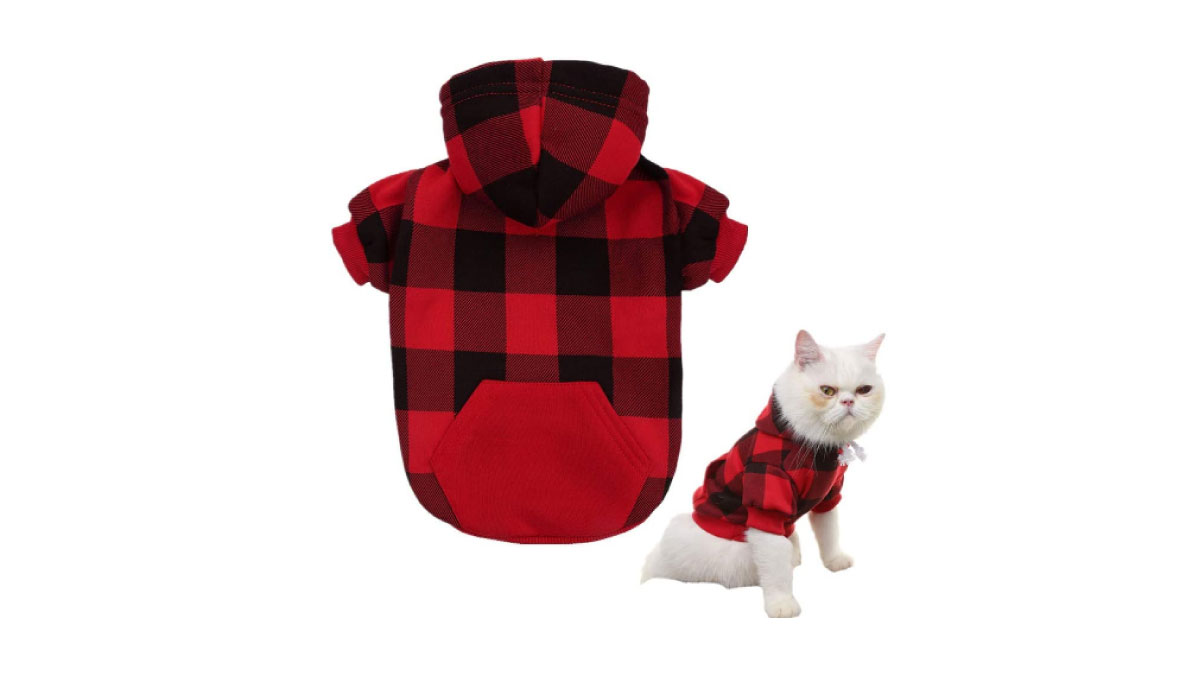 KOOLTAIL-Plaid-Dog-Hoodie-Pet-Clothes-Sweaters-with-Hat