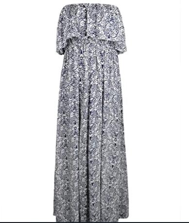 6.Buy Yidarton Women Summer Blue and White Porcelain Strapless Boho Maxi Online.