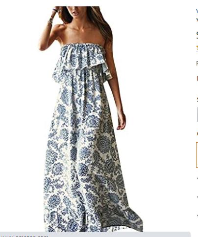 6.Buy Yidarton Women Summer Blue and White Porcelain Strapless Boho Maxi Online