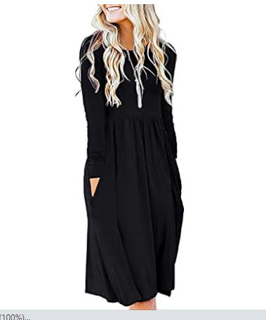 7.Best Women Casual Long Sleeve Dresses Empire Waist Loose Dress with Pockets