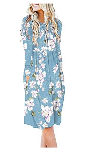 Db moon Women Casual Long Sleeve Dresses Empire Waist Loose Dress 2020