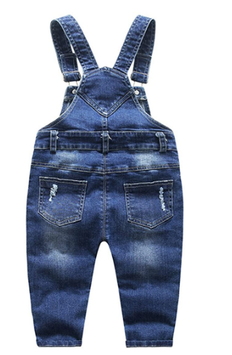 Top BoysGirls Stone Washed Ripped Soft Denim Overall.