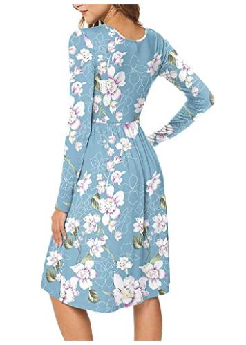 Women Casual Long Sleeve Dresses Empire Waist Loose Dress 2020