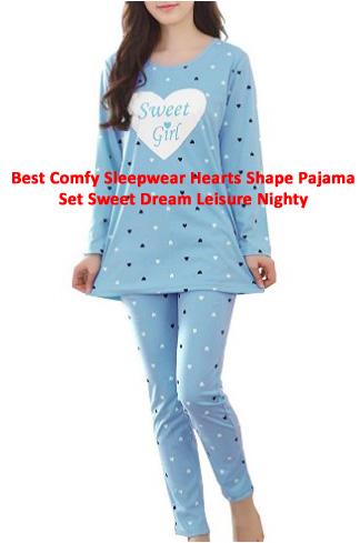 Best Comfy Sleepwear Hearts Shape Pajama Set Sweet Dream Leisure Nighty
