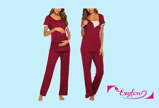 Ekouaer Womens Maternity Nursing Pajamas Set