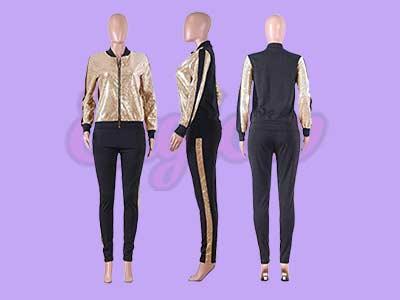 Pockets Glitter Metallic Jacket and Pant