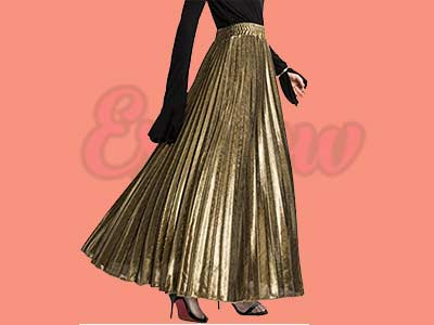 Shimmer Accordion Pleated Long Maxi Skirt