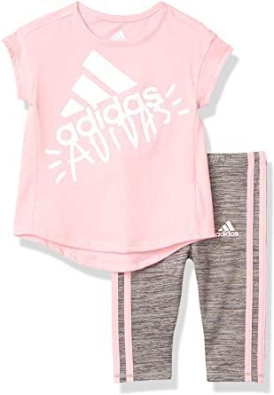 Adidas Girls Short Sleeve Top Capri Legging Set 1