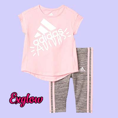 Adidas Girls Short Sleeve Top Capri Legging Set