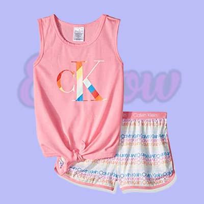 Girls 2 Piece Sleepwear T Shirt and Shorts Pajama Set
