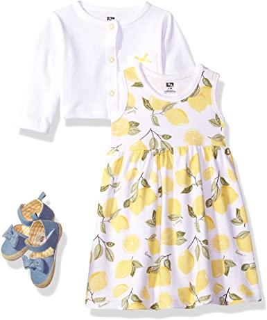 Girls Cotton Dress Cardigan and Shoe Set 1
