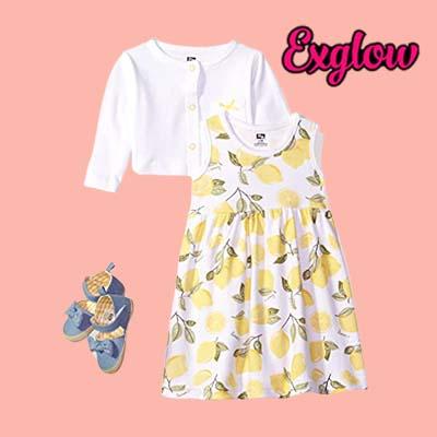 Girls Cotton Dress Cardigan and Shoe Set