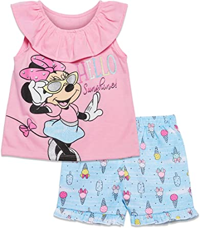 Minnie Mouse Girls T Shirt and Twill Shorts Set 1